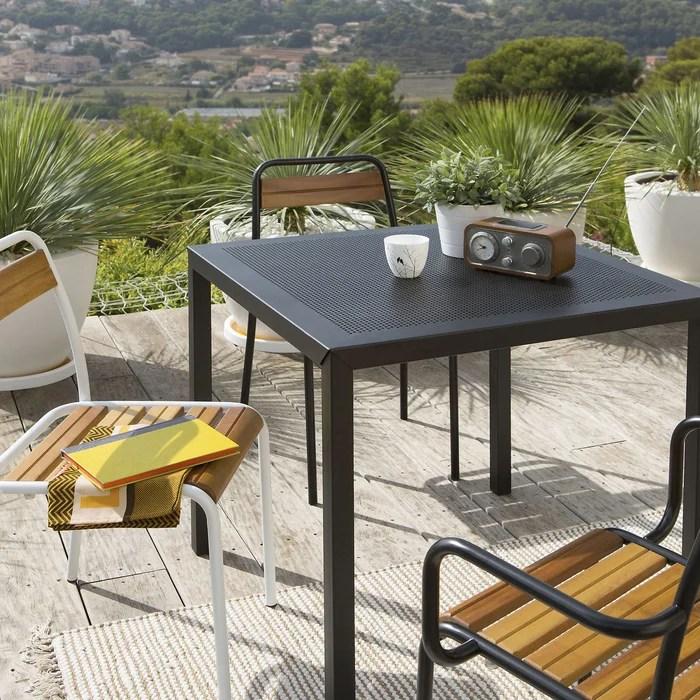 table de jardin carree metal perfore choe
