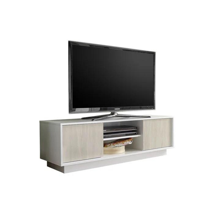 meuble tv design laque brillant et effet chene l138 cm hero