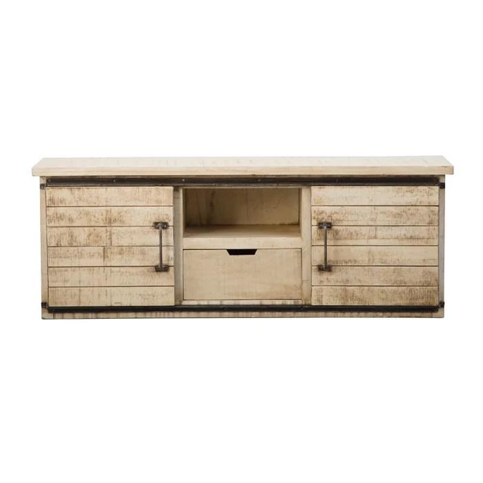 meuble tv industriel portes coulissantes en bois effet vintage