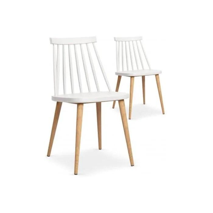 lot de 2 chaises scandinaves blanches polta blanc declikdeco la redoute