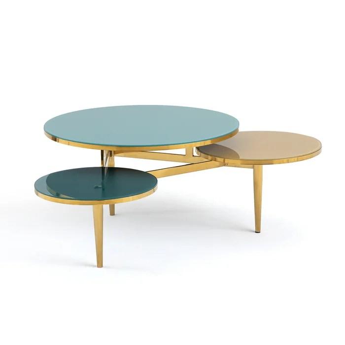 ruben tempered glass triple coffee table