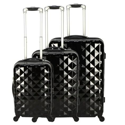 Set 3 valises Diamant 51+71+61cm Noir M6 BOUTIQUE