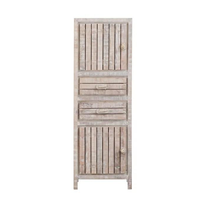 colonne style bord de mer bois blanchi 2 portes 2 tiroirs