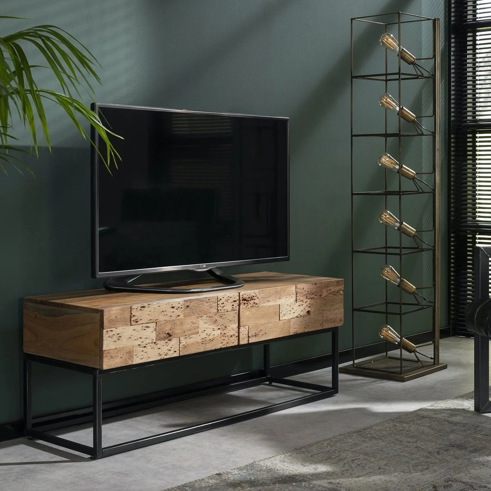 meuble tv 120cm bois acacia massif 2 tiroirs style contemporain perth