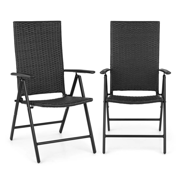 estoril chaise de jardin pliante 7 positions aluminium polyrotin noir