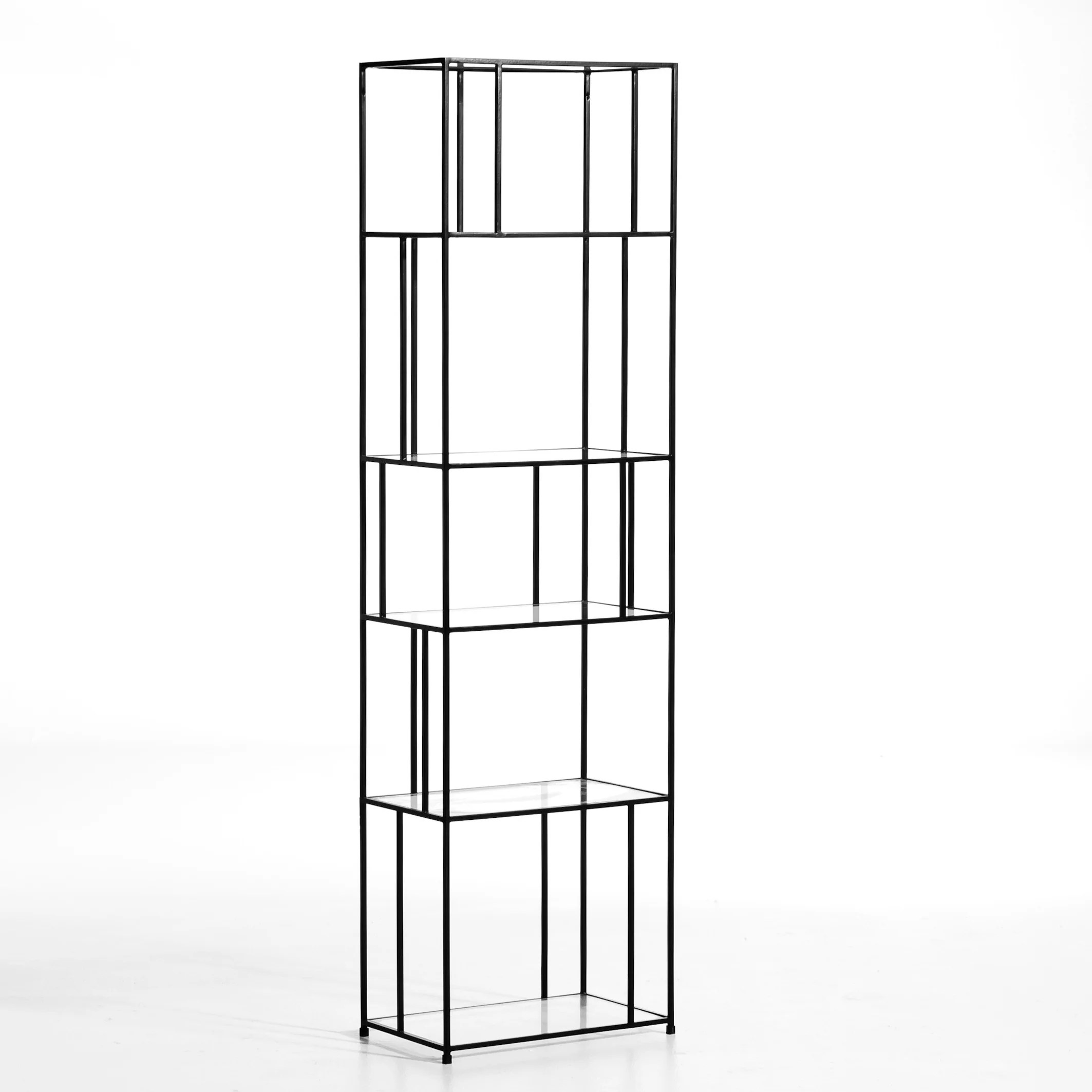 parallel metal glass bookcase