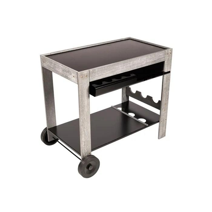 chariot plancha bois ceruse et metal perla