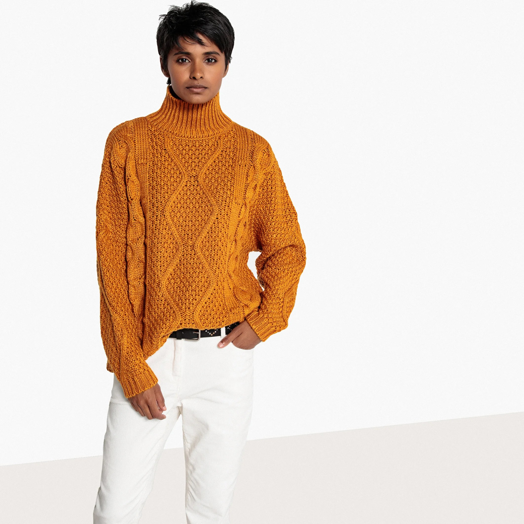 Mustard Cable Knit Jumper £22