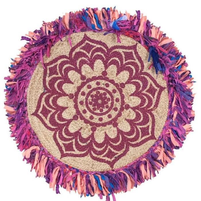tapis rond a franges 90 cm