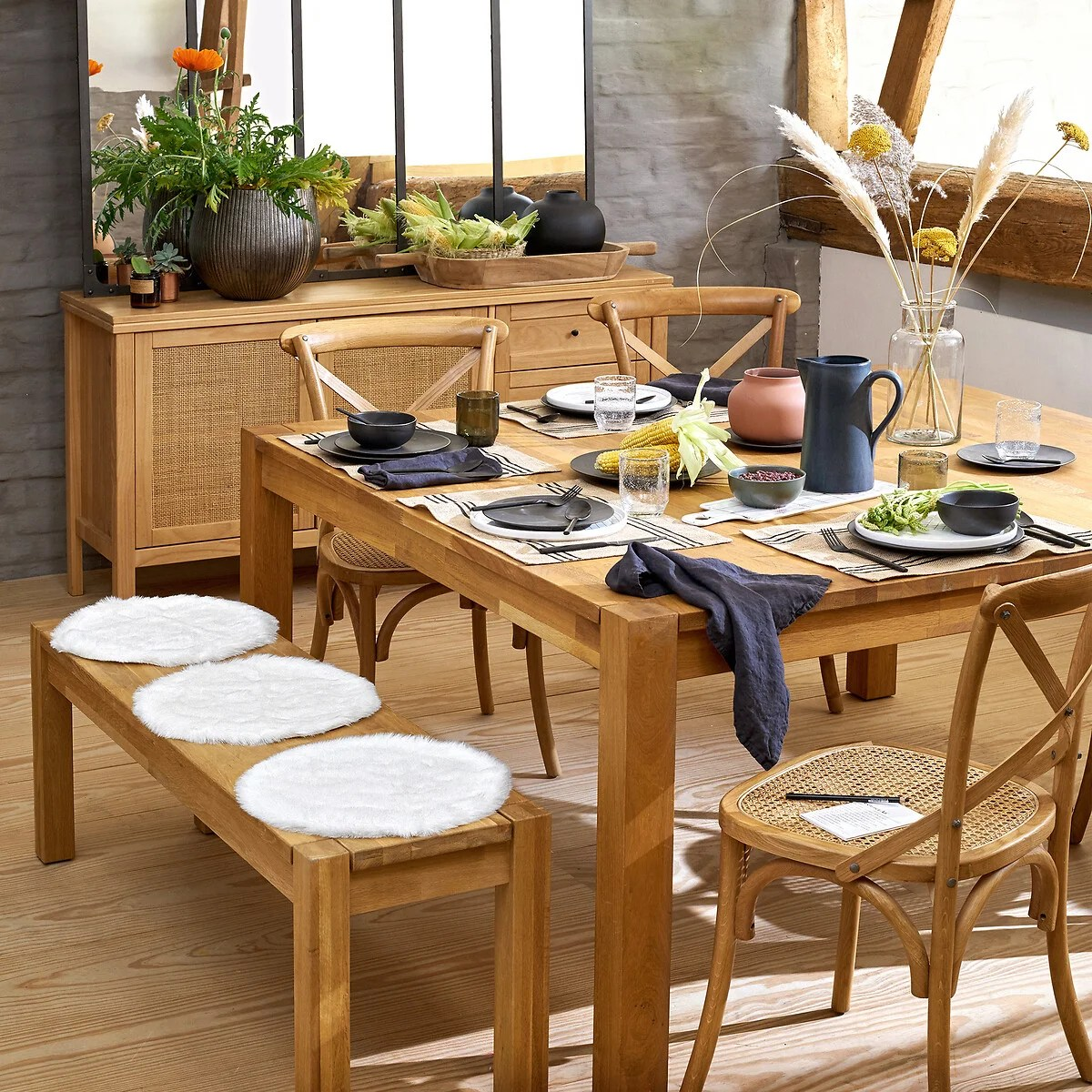 table a manger carree 8 couverts adelita