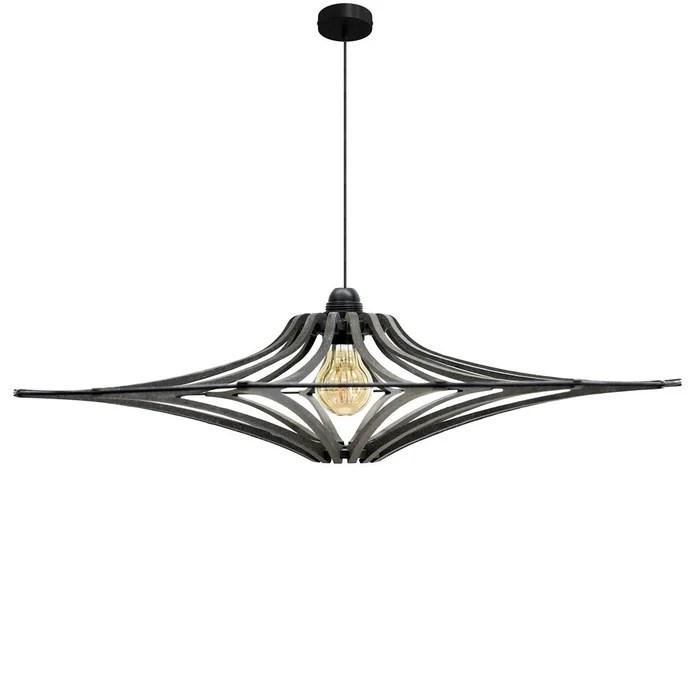 suspension bois design d90cm singing black kit cable noir et rosace metal