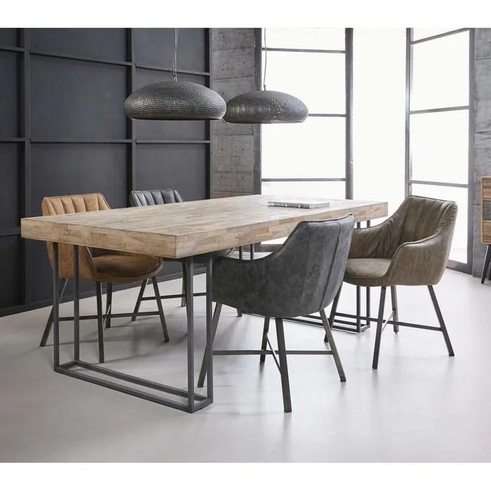 table a manger contemporaine teck recycle et pieds metal 200x100cm java
