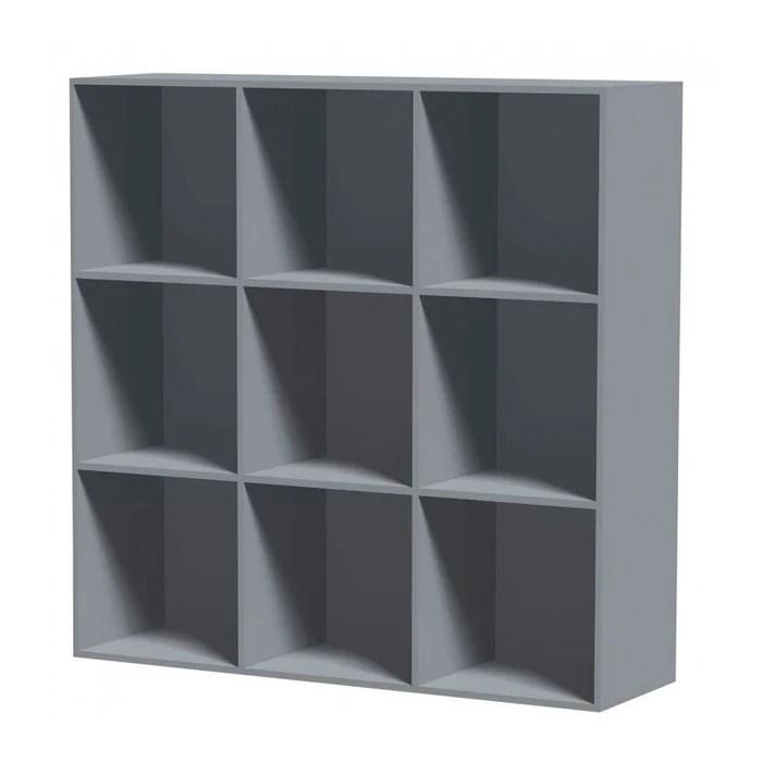 etagere carree en bois mdf gris 9 casiers