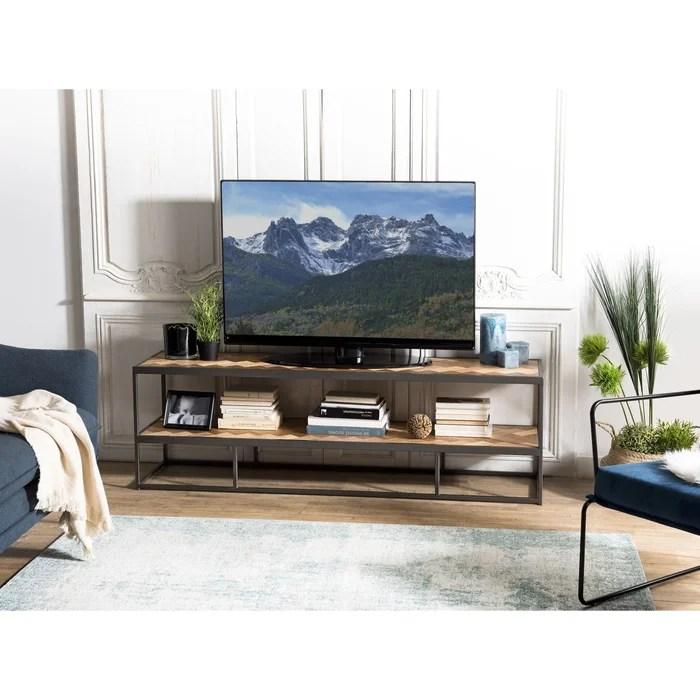 meuble tv 160cm teck motifs damier et metal 2 plateaux style contemporain carpates