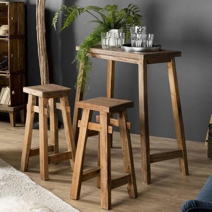 table haute mange debout avec 2 tabourets de bar bois acajou style exotique 40x90cm jodhpur