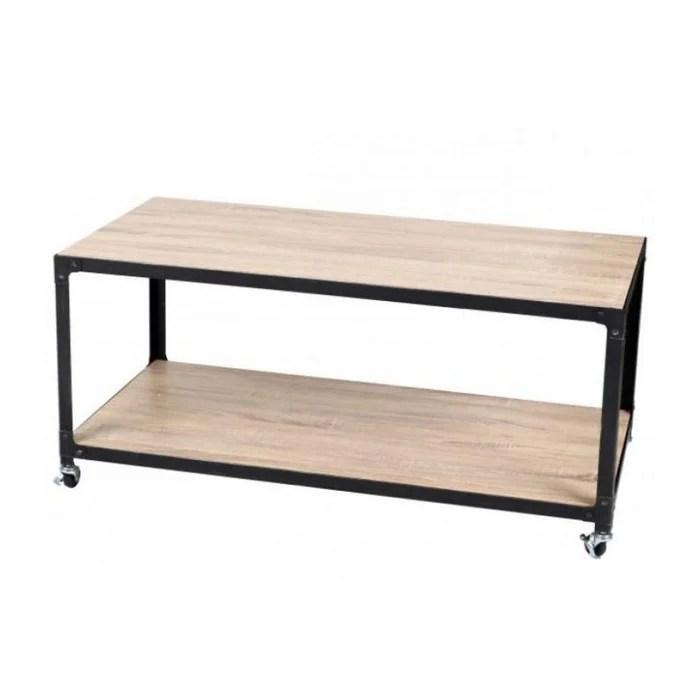 table basse 2 plateaux bois et metal noir sur roulettes style industriel