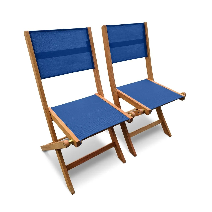lot de 2 chaises de jardin en bois almeria 2 chaises pliantes eucalyptus fsc huile et textilene