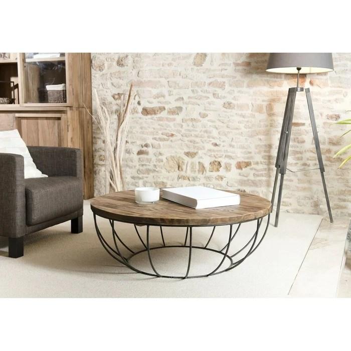 table basse ronde 100cm teck recycle et metal noir style contemporain industriel swing