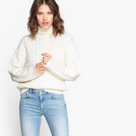 Imagen de Jersey de punto trenzado con cuello vuelto, lana La Redoute Collections