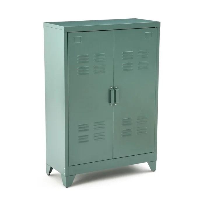 armoire basse 2 portes en metal hiba