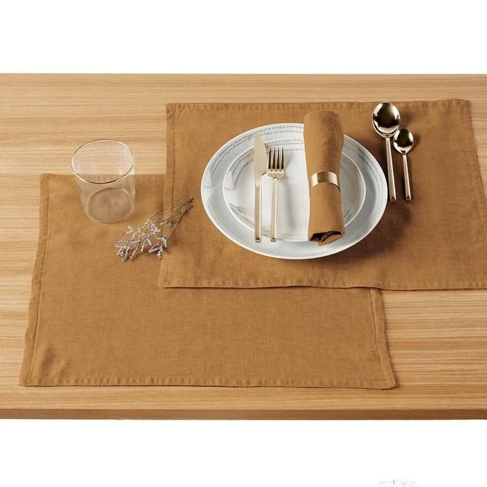 lot de 2 sets de table pur lin lave victorine