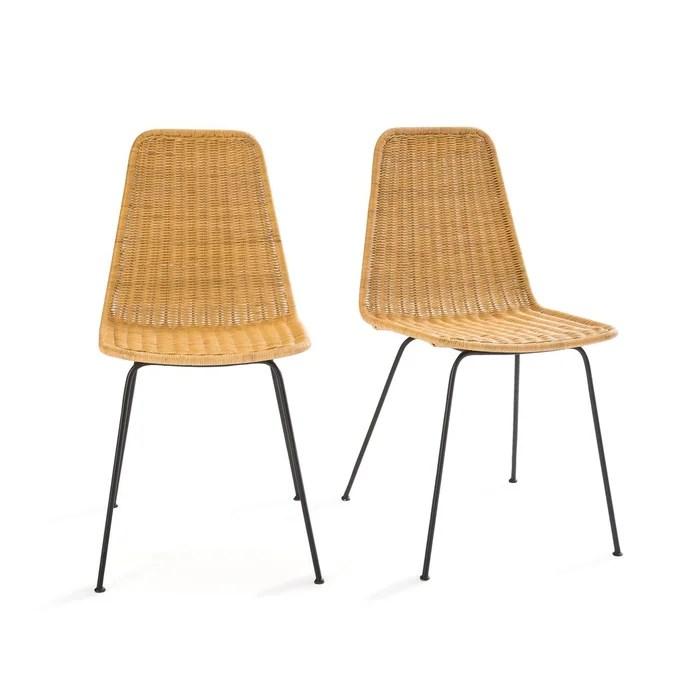 lot de 2 chaises en rotin tresse et acier roson