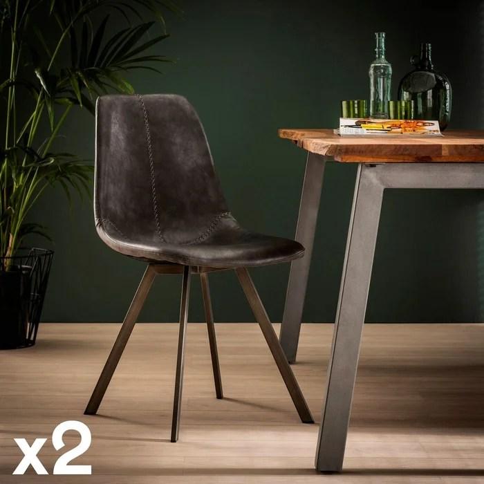chaise scandinave avec coutures apparentes et pieds etoile helsinki lot de 2