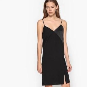 Imagen de Vestido estilo camisón corto con abertura y tirantes finos La Redoute Collections