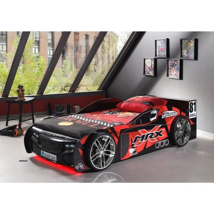 lit enfant voiture de course noir et rouge