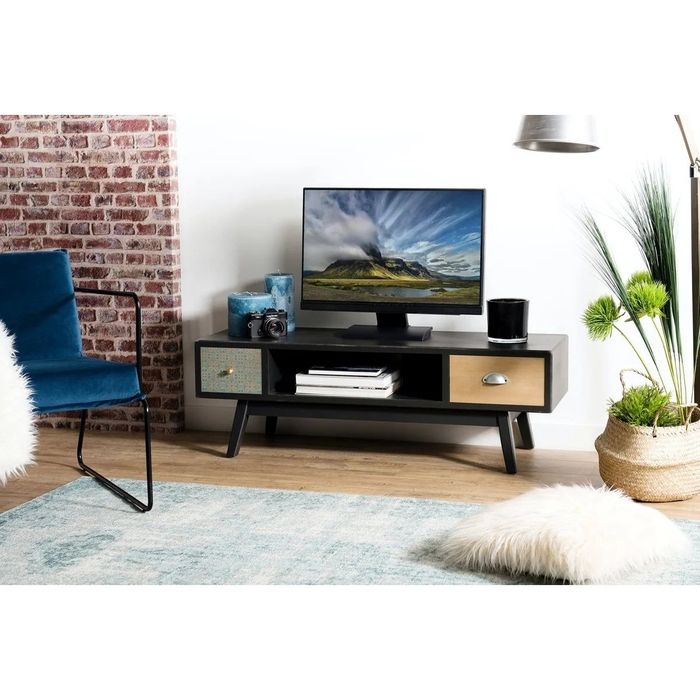 Meuble Tv 120cm Bois Noir 2 Tiroirs Patchwork 1 Niche Style Vintage Leonard Noir Pier Import La Redoute