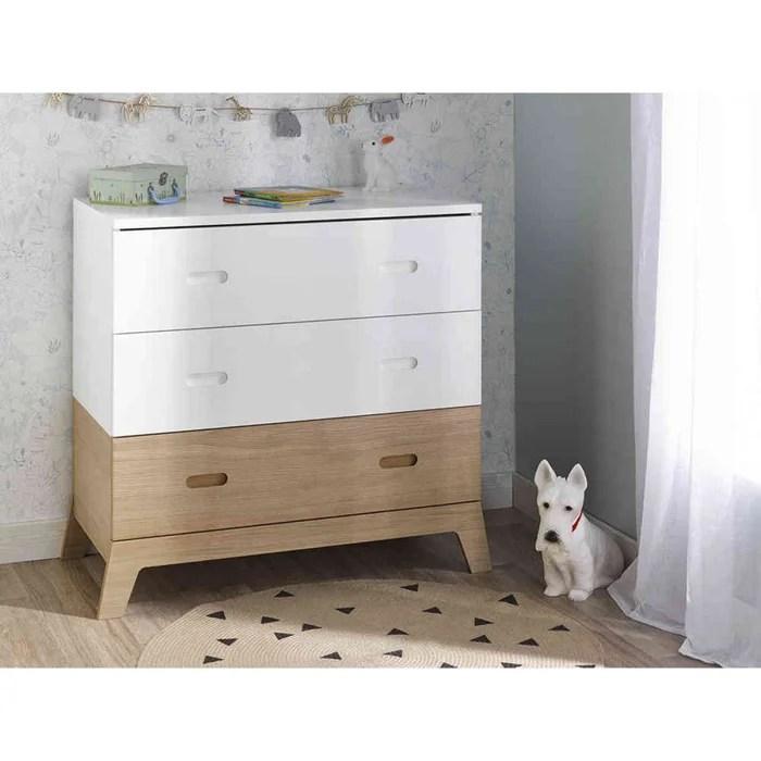 commode 3 tiroirs enfant bois blanc naturel archipel