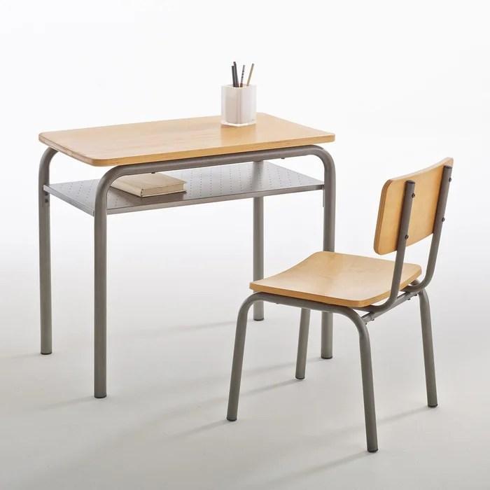 bureau et chaise d ecolier vintage buton gris bois la redoute interieurs la redoute