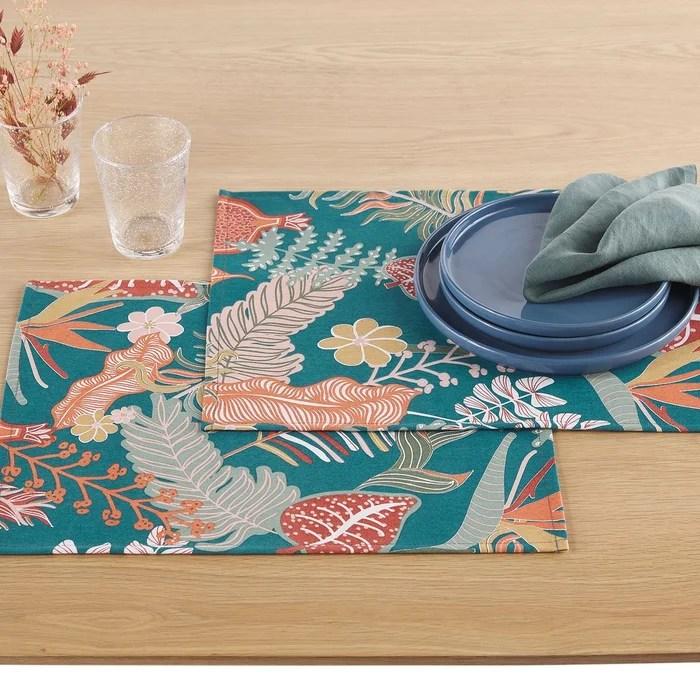 lot 2 sets de table imprimes tropic antitaches