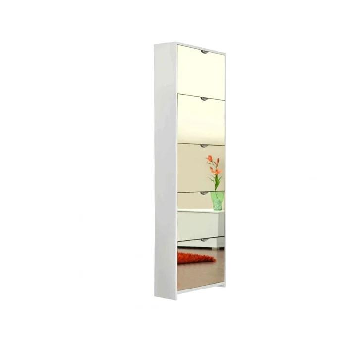 meuble a chaussures miroir 5 tiroirs