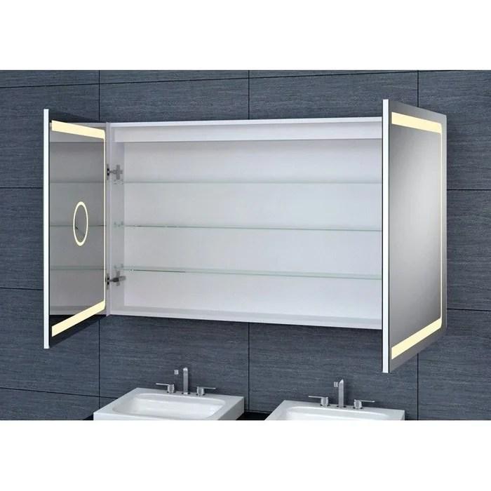 Armoire De Toilette Aluminium Design 70h X 120l Cm Gris Pradel La Redoute