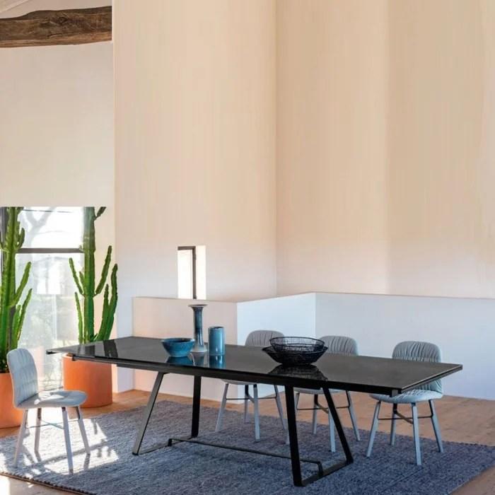 alfred table extensible 2 a 3m ceramique effet marbre noir
