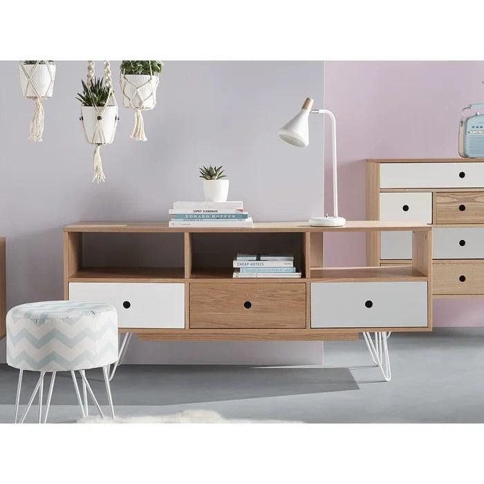 meuble bas scandinave 140 x 40 x 60 cm