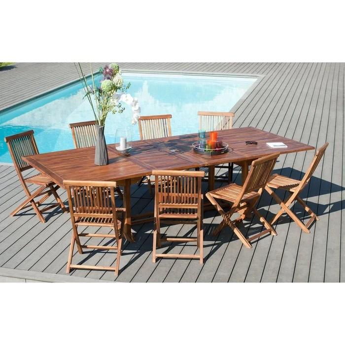 table de jardin extensible rectangulaire en bois de teck massif huile 200 300x120cm macao 12 personnes
