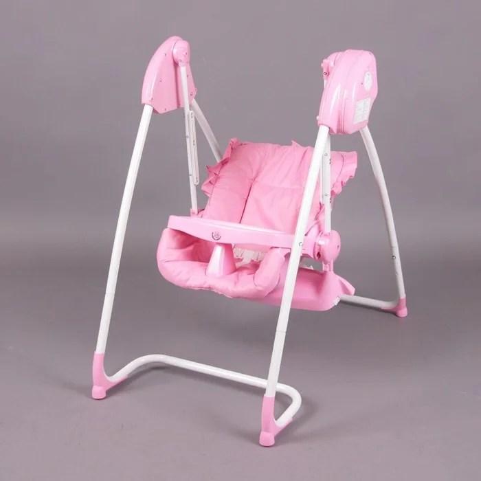 splendide 2en1 chaise haute balancelle electrique rose homey