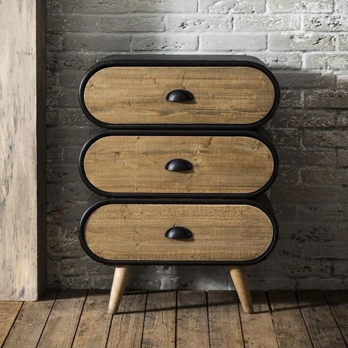 commode table de chevet contemporaine en bois massif et metal 3 tiroirs 60cm niagara