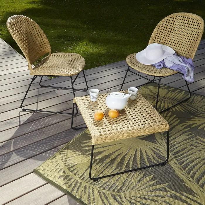 salon 2 fauteuils table basse en rotin synthetique et metal