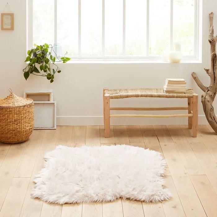 tapis effet peau de mouton livio 110 x 130 cm