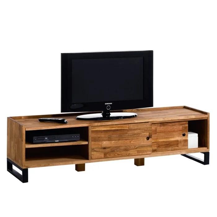 hiba solid oak steel tv unit
