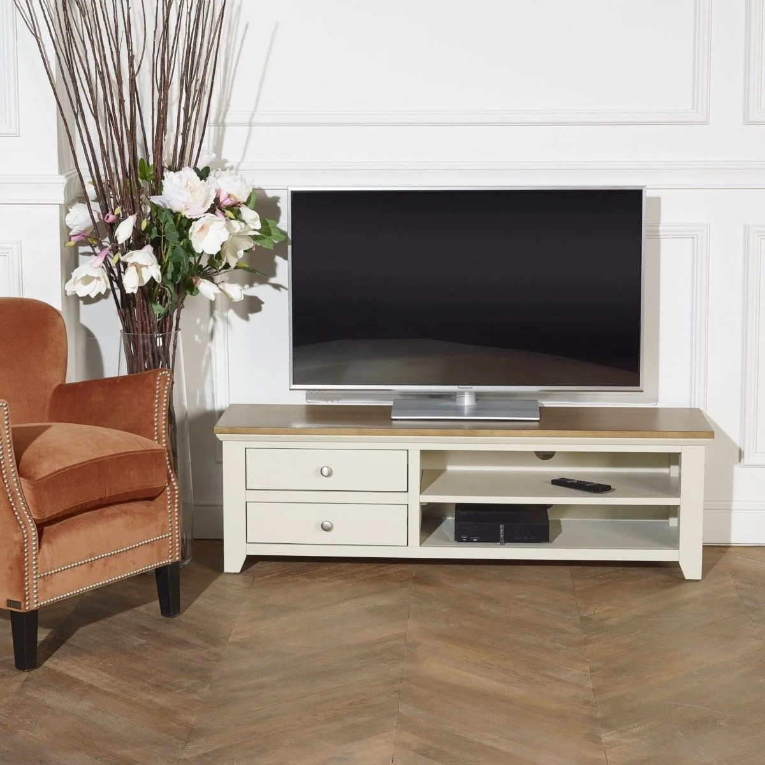 meuble tv hifi arlo 2 tiroirs 2 niches