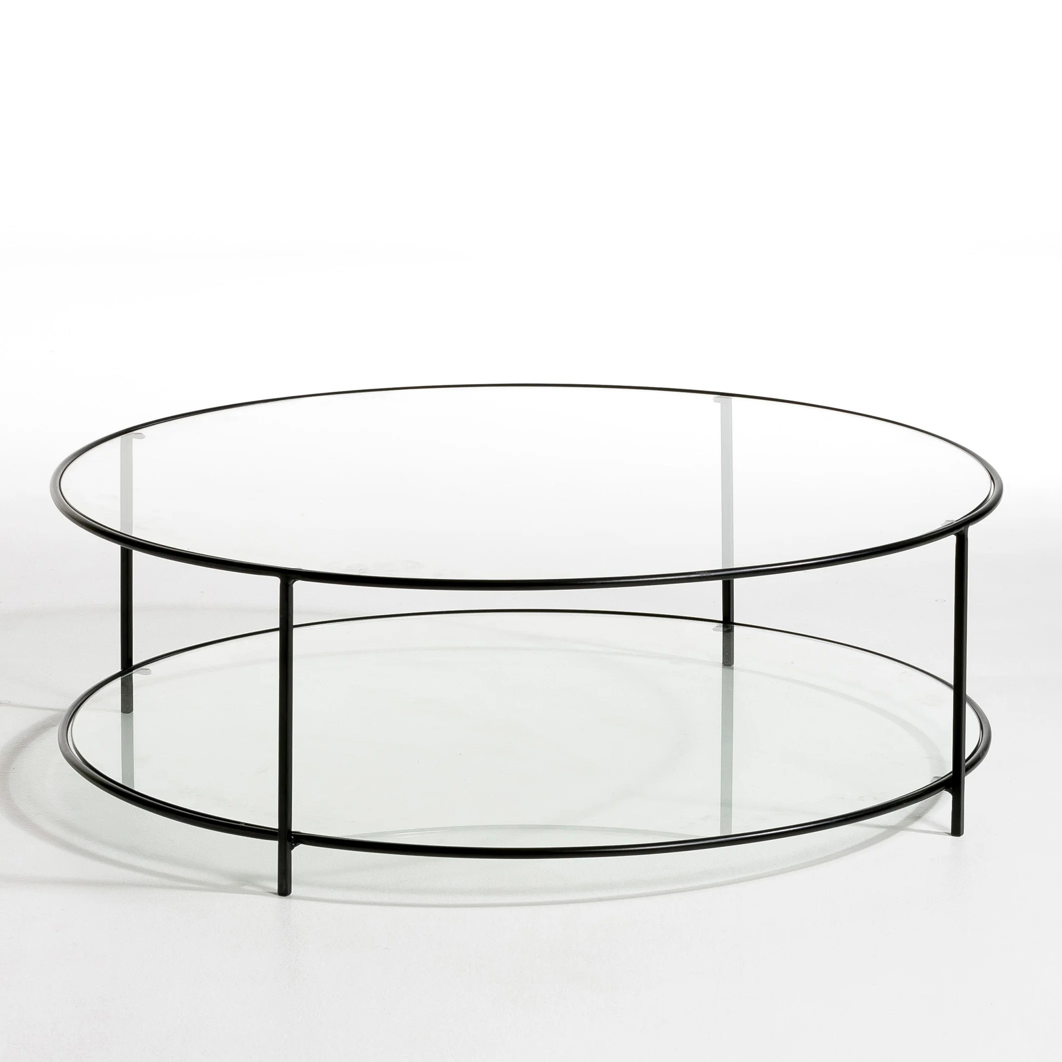 sybil two tier round coffee table in tempered glass