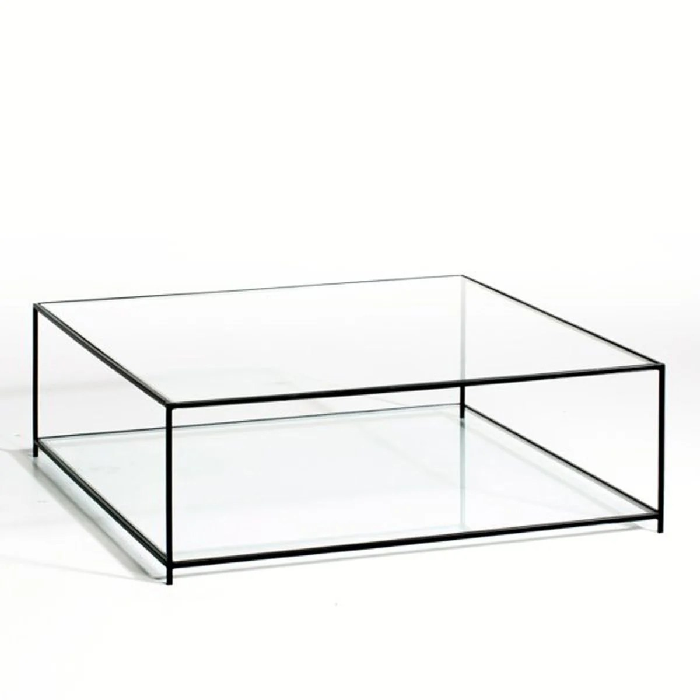 table basse carree verre trempe sybil