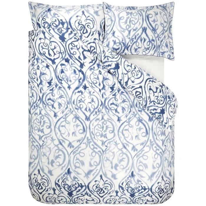 Housse De Couette Imprimee En Satin De Coton Arabesque Bleu Indigo Designers Guild La Redoute