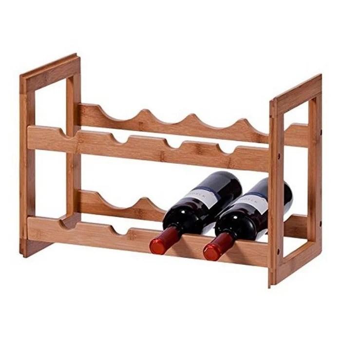 casier a bouteilles empilable bois bambou