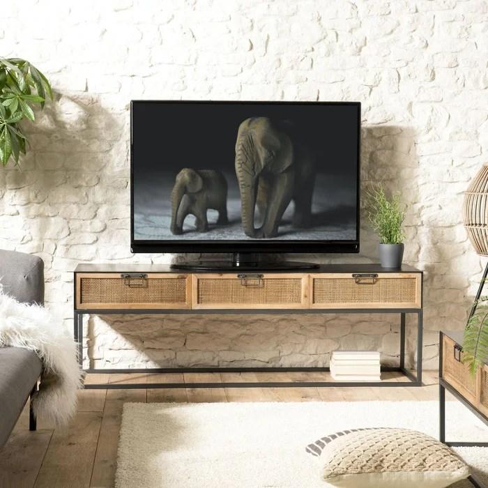 Meuble Tv 150cm En Metal Et Tiroirs En Cannage Rotin Style Classique Chic Bilbao Bois Naturel Pier Import La Redoute