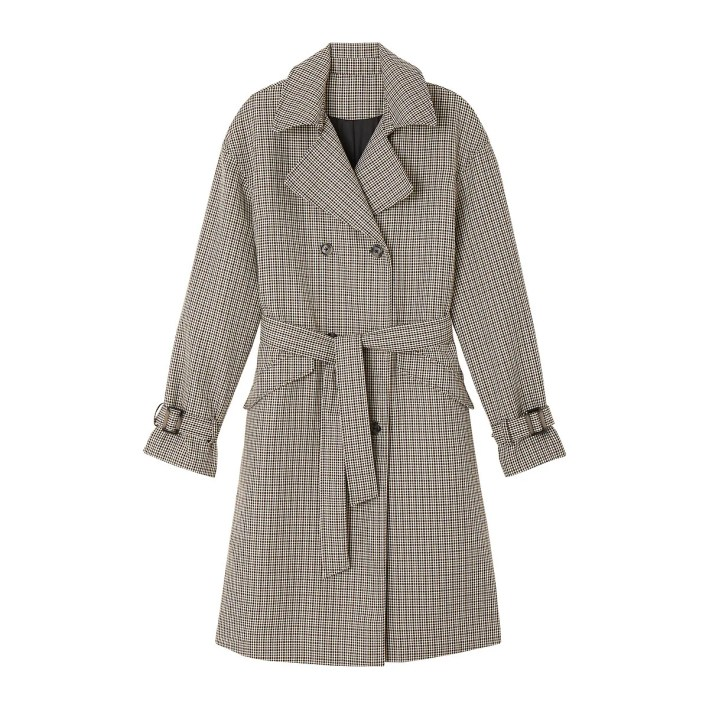 Checked Double-Breasted Trench Coat la redoute